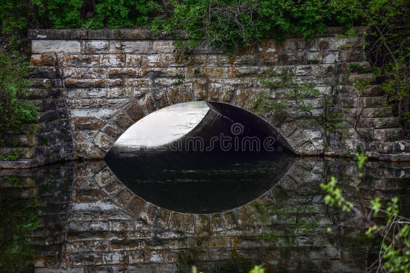 Weerspiegelde Tunnel hierboven - water stock afbeelding