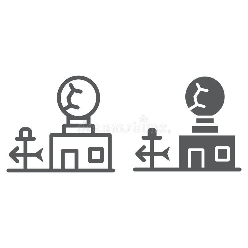 Weerstationlijn en glyph pictogram, anemometer en voorspelling, meteorogical postteken, vectorafbeeldingen, lineair vector illustratie