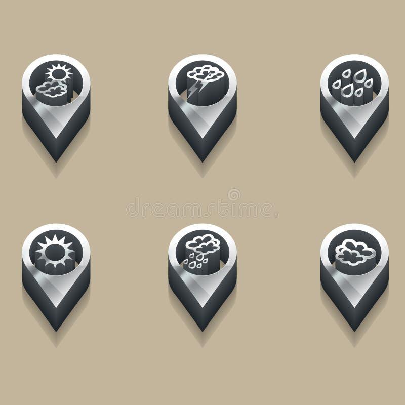 Weersymbolen in 3d stock illustratie