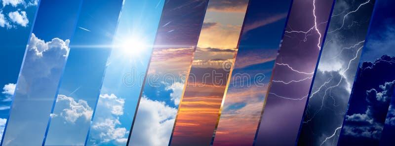 Weervoorspellingsachtergrond, klimaatveranderingconcept stock afbeelding