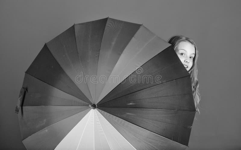 Weervoorspellingsconcept Verblijfspositief hoewel regenachtige dag Helder omhoog het leven op Het jonge geitje gluurt uit kleurri stock afbeelding
