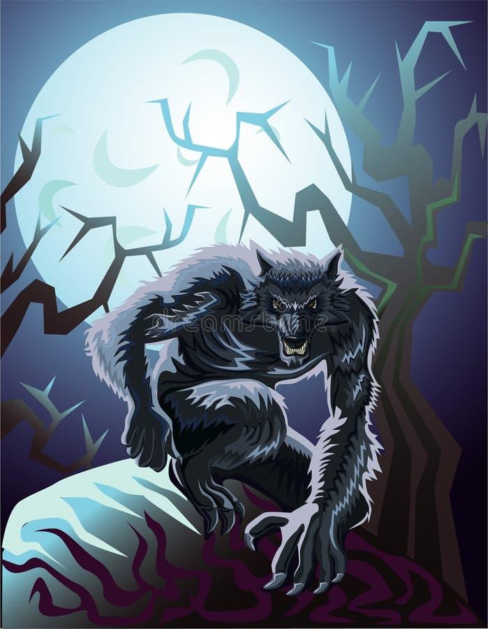 Weerwolf en maan stock afbeeldingen