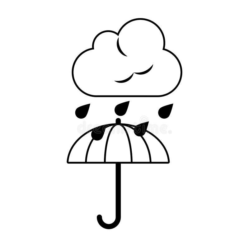 Weerwolk die op paraplu in zwart-wit regenen royalty-vrije illustratie