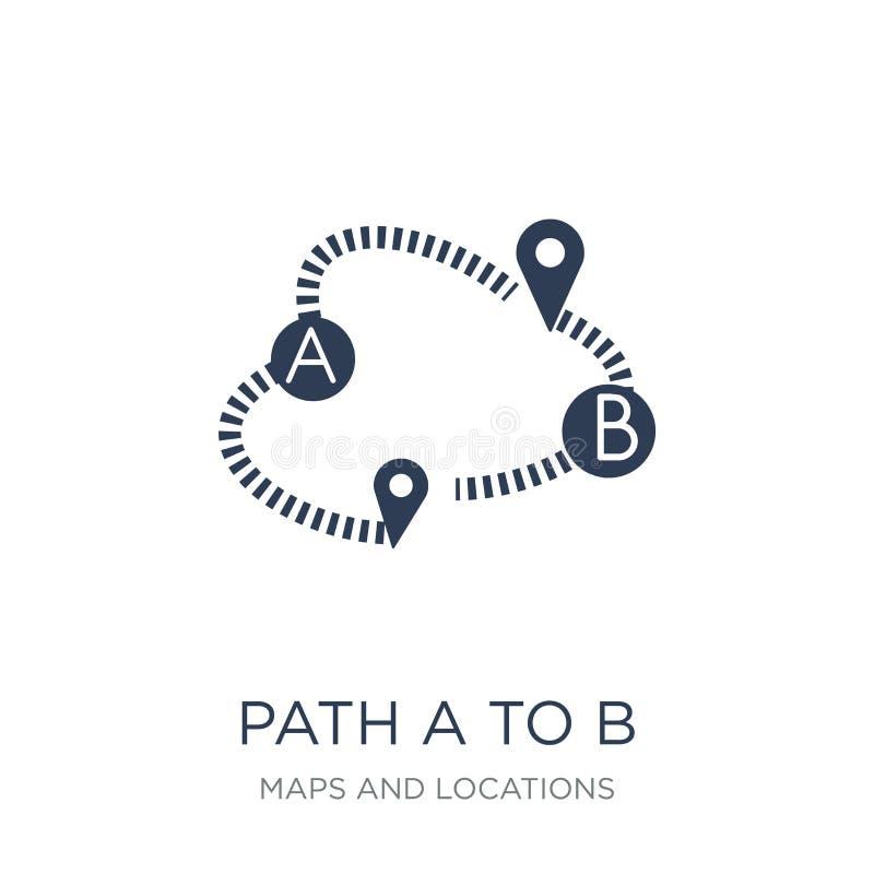 Weg A aan B-pictogram In vlakke vectorweg A aan B-pictogram op witte B royalty-vrije illustratie