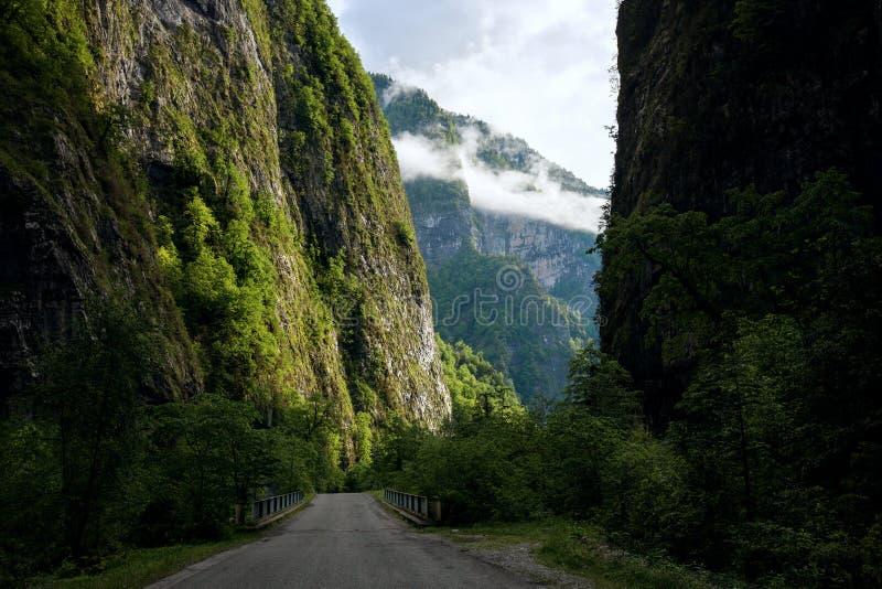 Weg aan de bergen langs de kloof in Abchazië stock foto's