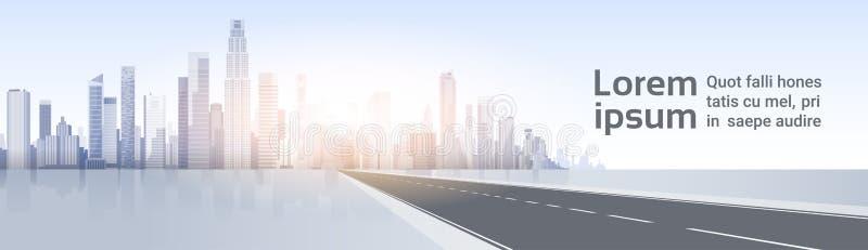 Weg aan de Meningscityscape van de Stadswolkenkrabber Achtergrondhorizonsilhouet met Exemplaarruimte royalty-vrije illustratie