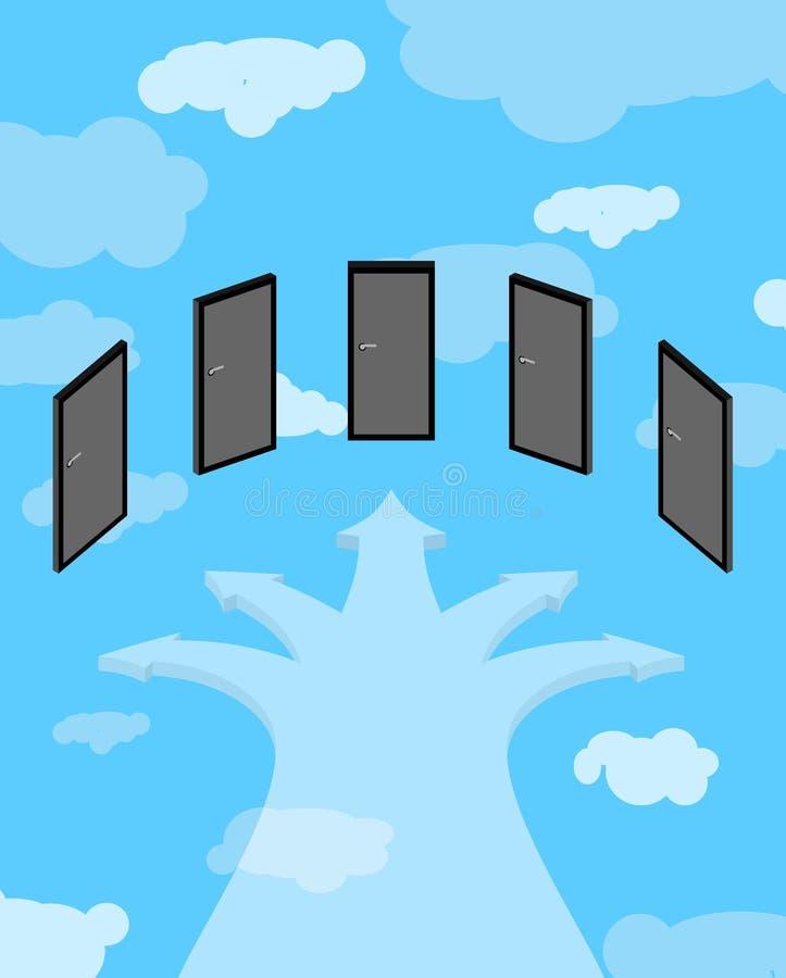 Weg aan hemel Vrijheid van keus Kruispunten in hemel divaricati vector illustratie