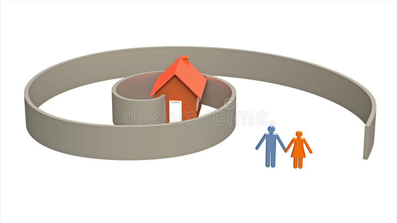 Weg aan het eigen huis stock illustratie