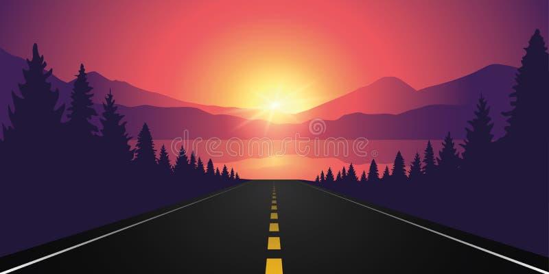 Weg aan het meer in het bos bij zonsopgang met berglandschap royalty-vrije illustratie