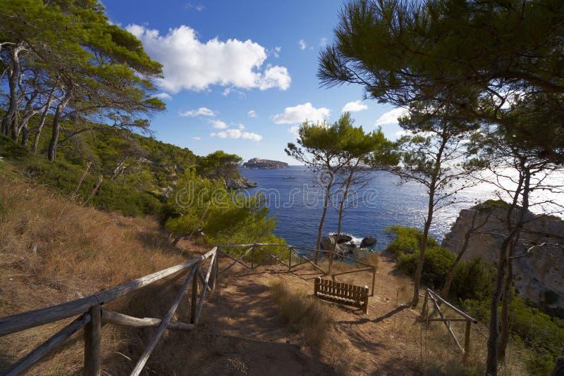 Weg aan het overzees San-Dominoeiland Tremiti, Puglia, Italië stock fotografie
