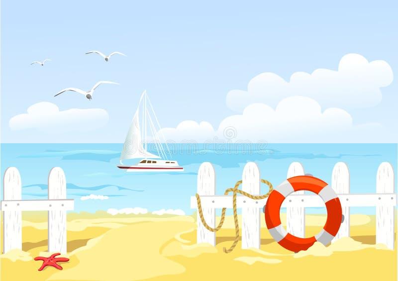 Weg aan het strand door de omheining royalty-vrije illustratie