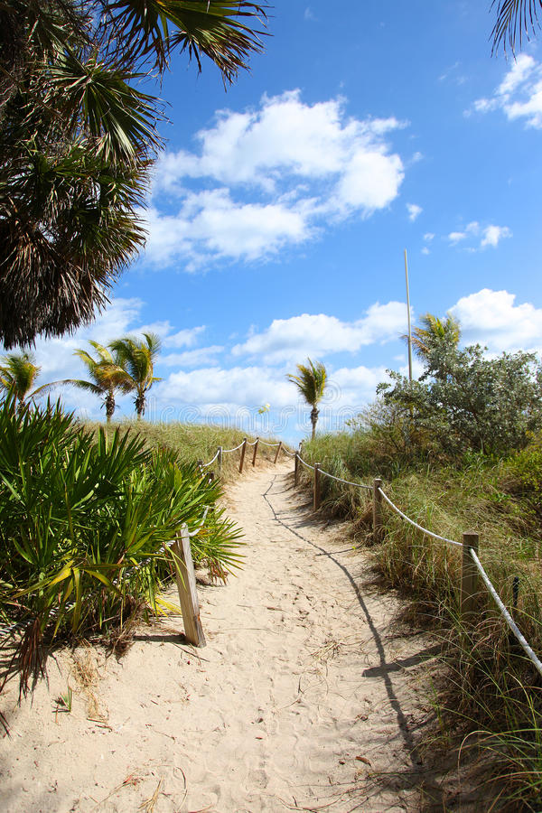 Weg aan het strand in Miami royalty-vrije stock foto