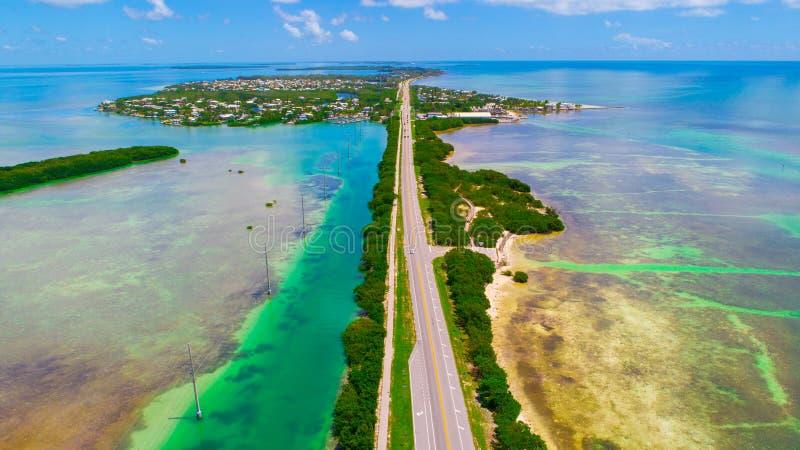 Weg aan Key West over overzees en eilanden, de sleutels van Florida, de V.S. stock afbeelding