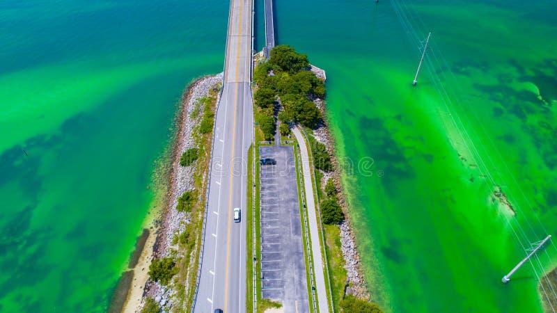 Weg aan Key West over overzees en eilanden, de sleutels van Florida, de V.S. stock foto