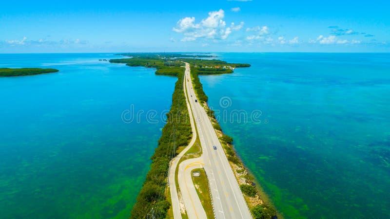 Weg aan Key West over overzees en eilanden, de sleutels van Florida, de V.S. royalty-vrije stock afbeelding