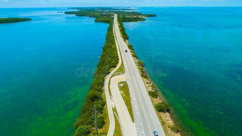 Weg aan Key West over overzees en eilanden, de sleutels van Florida, de V.S. royalty-vrije stock fotografie