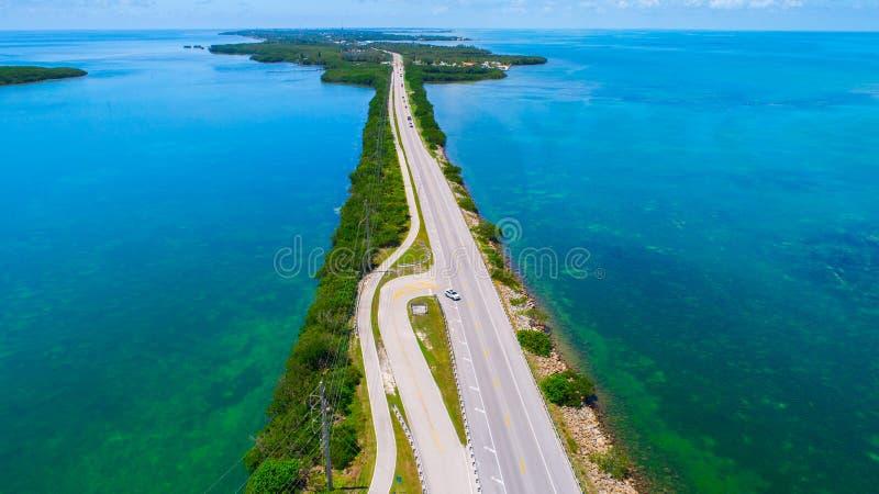Weg aan Key West over overzees en eilanden, de sleutels van Florida, de V.S. royalty-vrije stock foto's