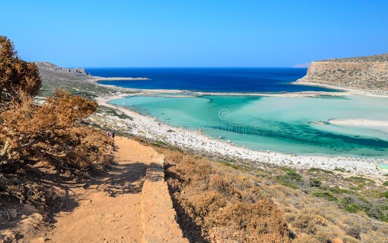 Weg aan mooi Balos-strand op het eiland van Kreta royalty-vrije stock foto's