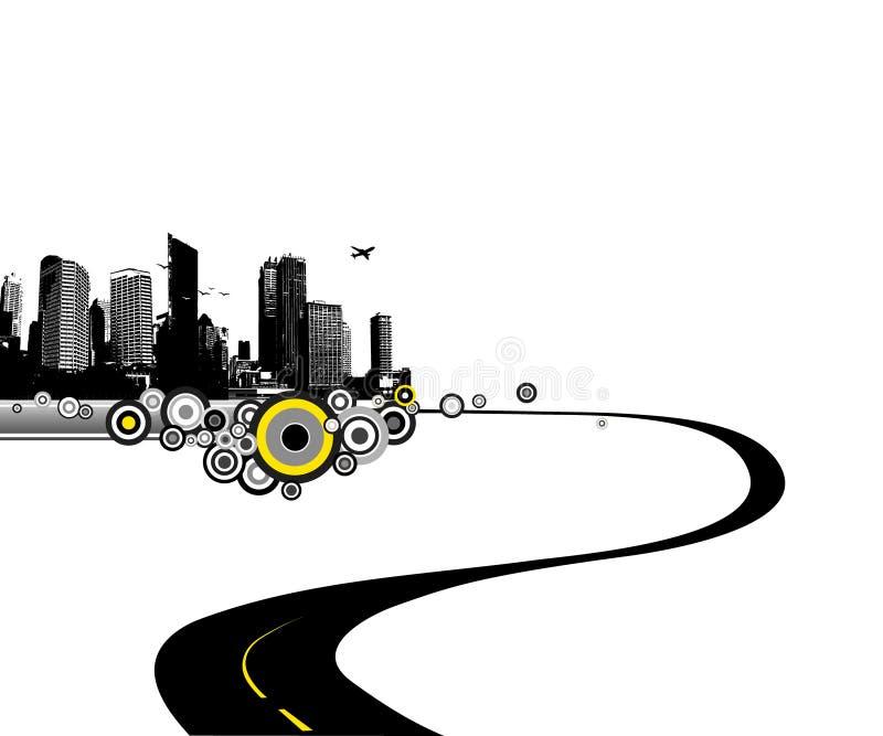 Weg aan stad. Vector art. stock illustratie
