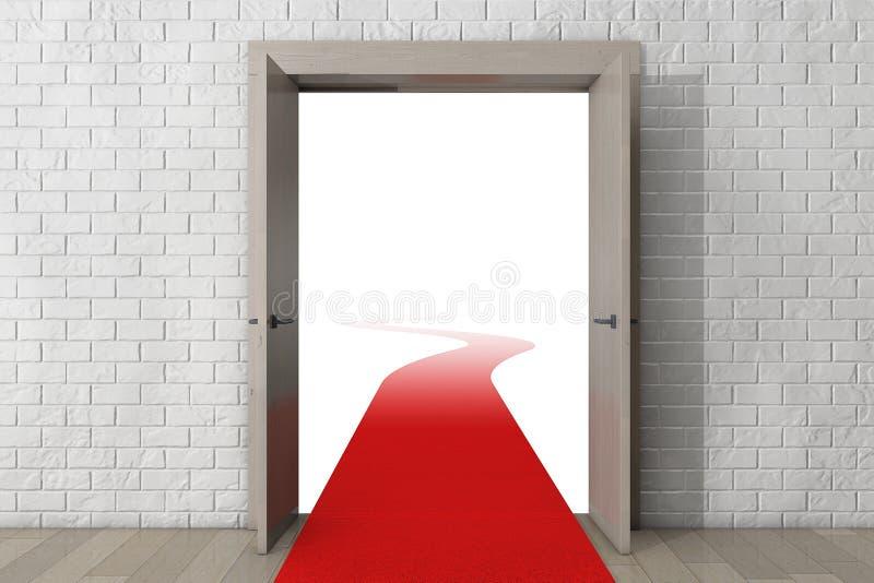 Weg aan Succes Deur met Rood Tapijt voor Bakstenen muur stock foto