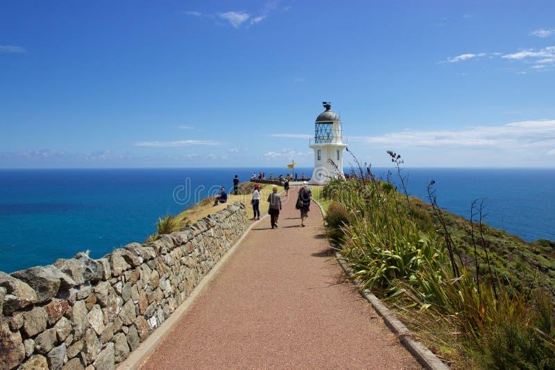 Weg aan vuurtoren bij Kaap Reinga, Northland, Nieuw Zeeland stock foto's