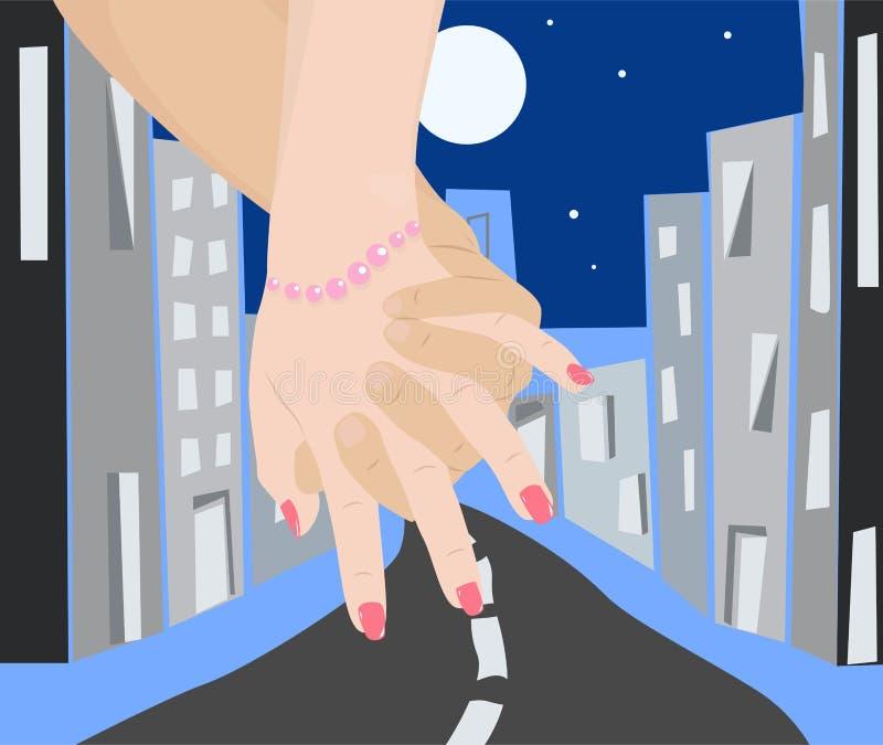 Weg auf Nachtstadt lizenzfreie abbildung