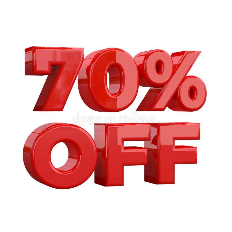 70% weg auf weißem Hintergrund, Sonderangebot, großes Angebot, Verkauf siebzig Prozent weg weg der fördernden Werbungsfahne, vom  stock abbildung