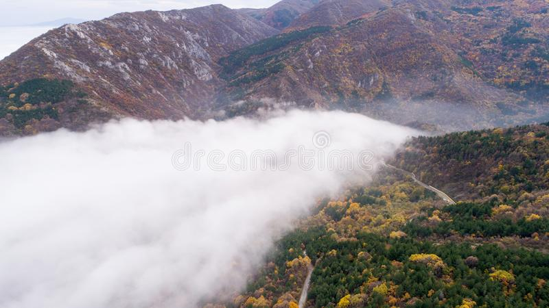 Weg in Berg met Heel wat Mist royalty-vrije stock foto