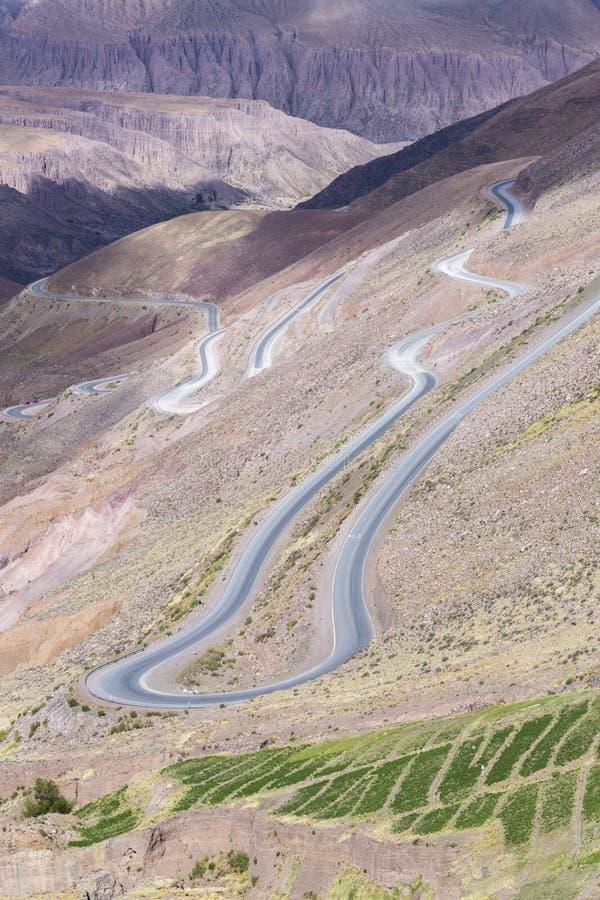 Weg in de gekleurde berg dichtbij Purmamarca, Argentinië royalty-vrije stock fotografie