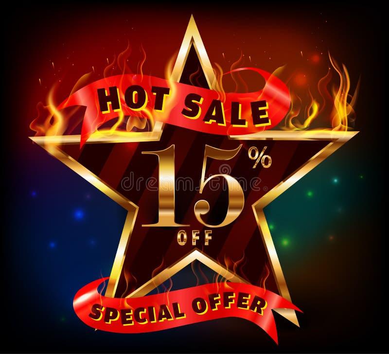 15% weg, de hete verkoop van de 15 verkoopkorting met speciale aanbieding stock illustratie