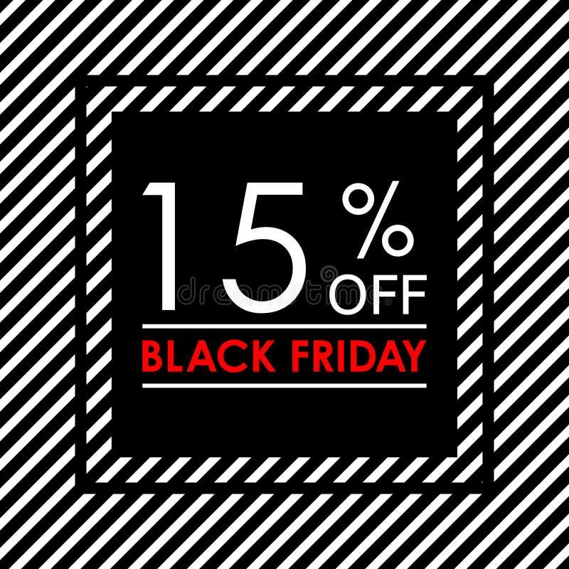 15% weg De verkoop en de kortingsbanner van Black Friday Het ontwerpmalplaatje van de verkoopmarkering Vector illustratie vector illustratie