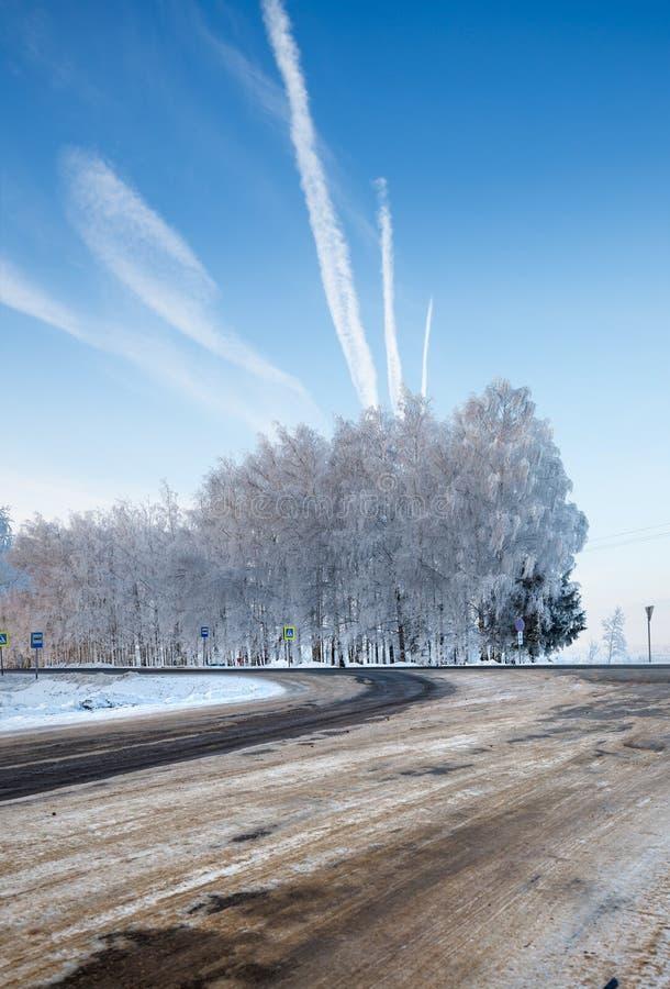 Weg in de winter royalty-vrije stock foto's