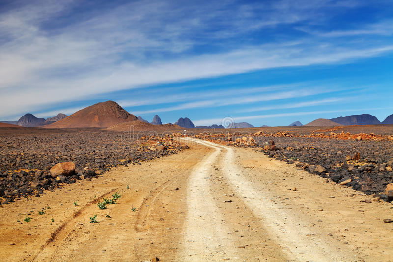 Weg in de Woestijn van de Sahara stock foto's