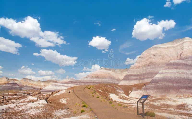 Weg in de woestijnbergen in Arizona stock afbeelding