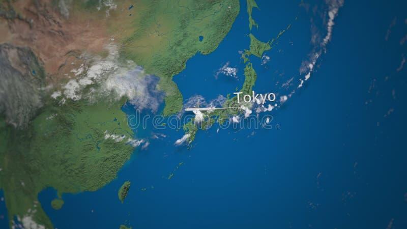 Weg des Handelsflugzeugfliegens von Tokyo nach Dubai auf der Erdkugel Internationale Reiseintroanimation stock abbildung