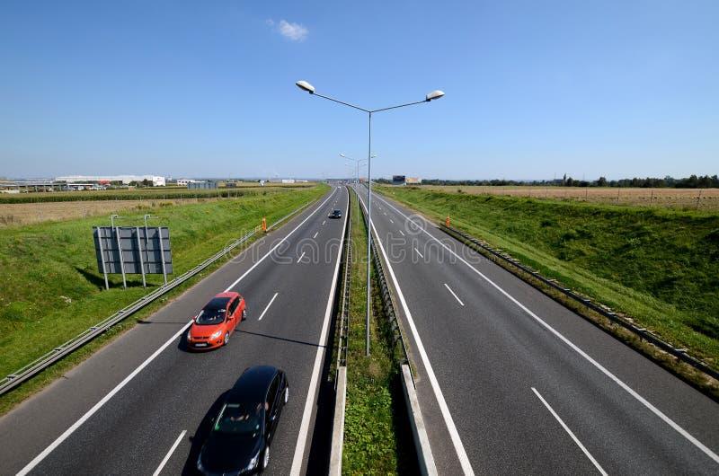 Weg A4 dichtbij Gliwice in Polen royalty-vrije stock afbeelding