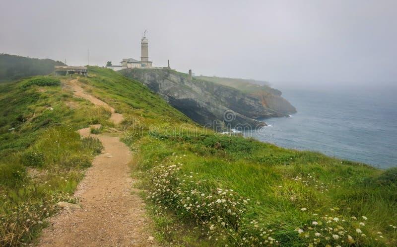 Weg die tot Cabo Burgemeester Lighthouse, Santander, Cantabrië leiden royalty-vrije stock fotografie