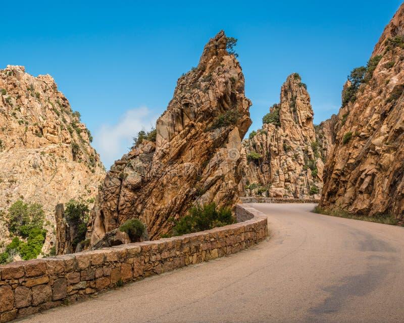Weg door Calanches DE Piana in Corsica stock afbeelding