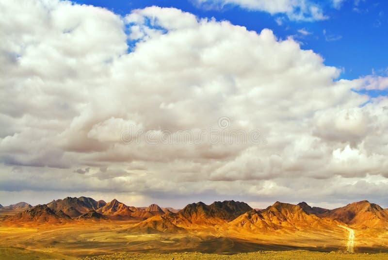 Weg door woestijn Sinai in de winter royalty-vrije stock foto's