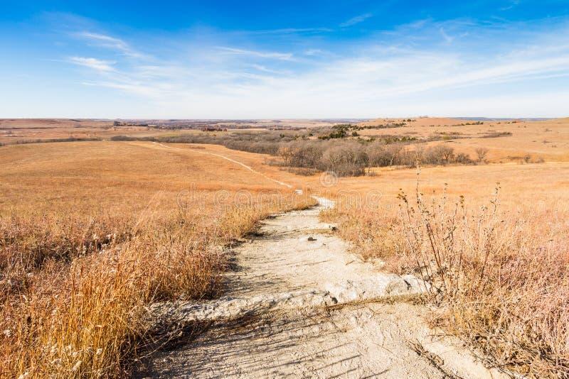 Weg durch Flint Hills Prairie lizenzfreie stockfotos