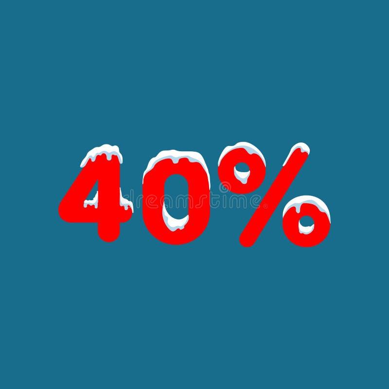 10 weg Ein Rabatt von zehn Prozent Zahlen im Schnee Winterschlussverkauf, Weihnachtsverkauf, Feiertagsverkauf Flache Vektorillust stock abbildung