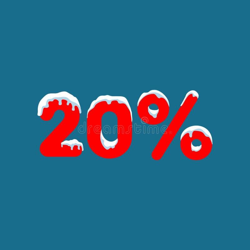 20 weg Ein Rabatt von zehn Prozent Zahlen im Schnee Winterschlussverkauf, Weihnachtsverkauf, Feiertagsverkauf Flache Vektorillust stock abbildung