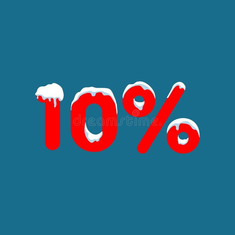 10 weg Ein Rabatt von zehn Prozent Zahlen im Schnee Winterschlussverkauf, Weihnachtsverkauf, Feiertagsverkauf Flache Vektorillust vektor abbildung