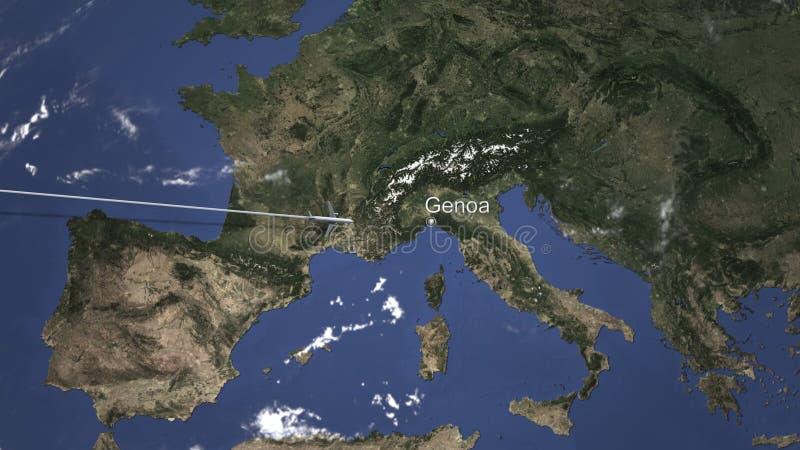 Weg eines kommerziellen flachen Fliegens nach Genua, Italien auf der Karte Wiedergabe 3d stock abbildung