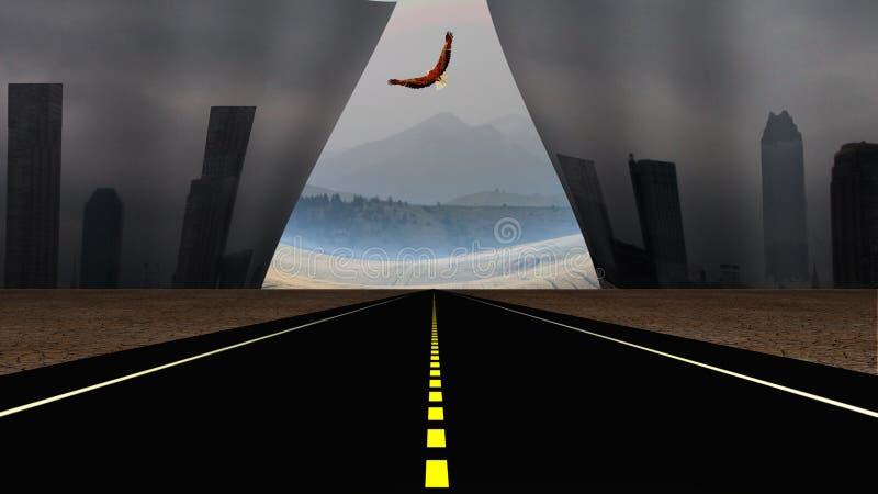 Weg en Dystopic-stadsscène vector illustratie