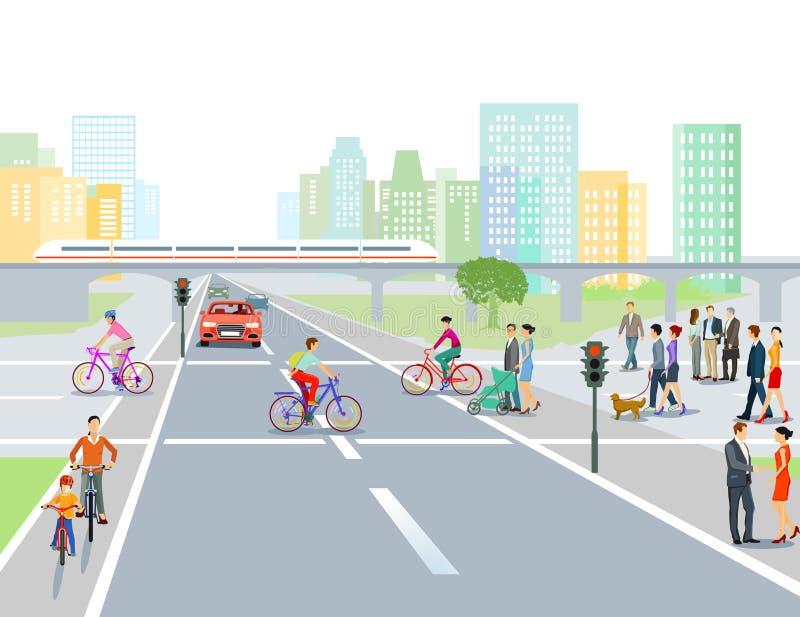 Weg en kruising in de stad stock illustratie