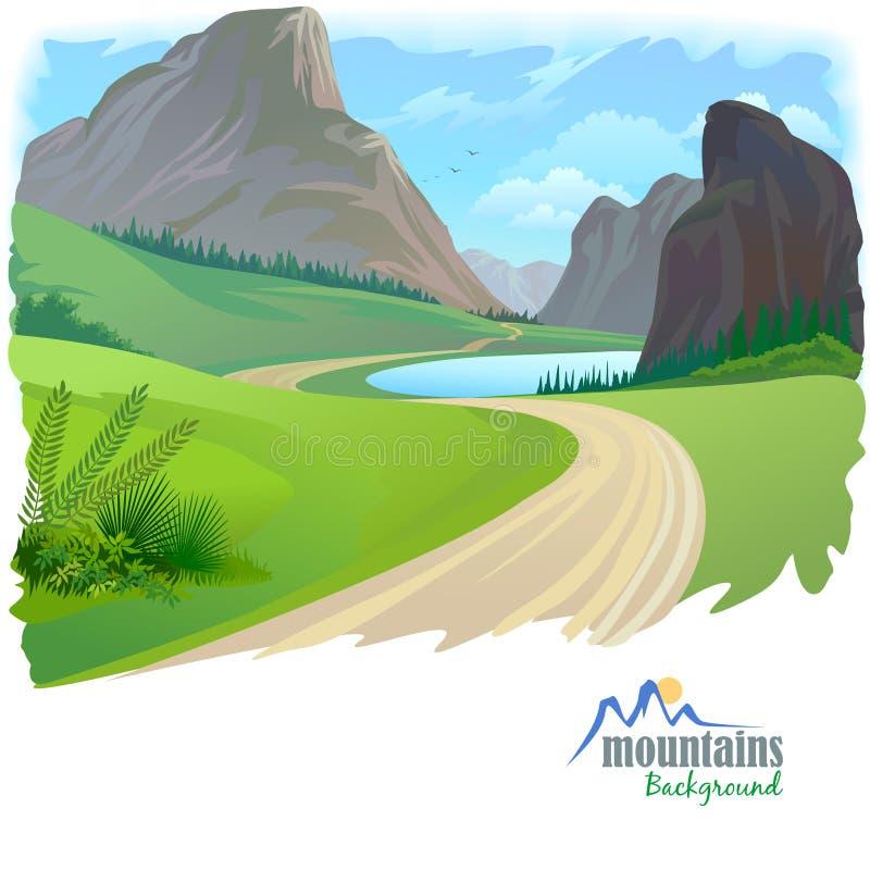 Weg en Rotsachtige Heuvels royalty-vrije illustratie