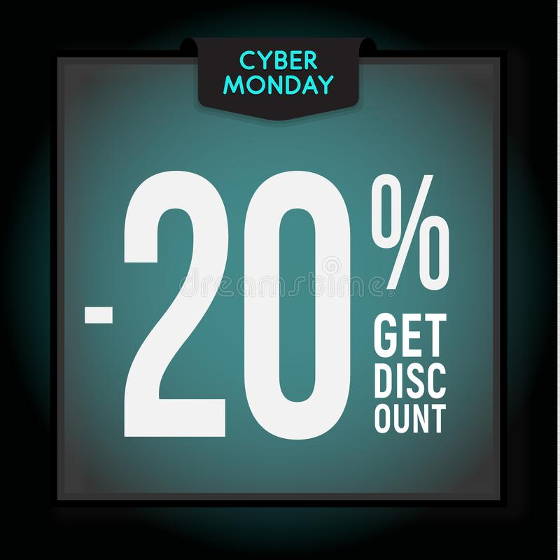 20% weg Feiertagsrabatt Cyber-Montag-Verkauf Moderne Fahnenschablone für die Werbung Auch im corel abgehobenen Betrag lizenzfreie abbildung