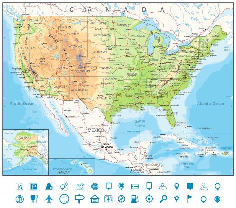 Weg Fysieke Kaart van de V.S. stock illustratie