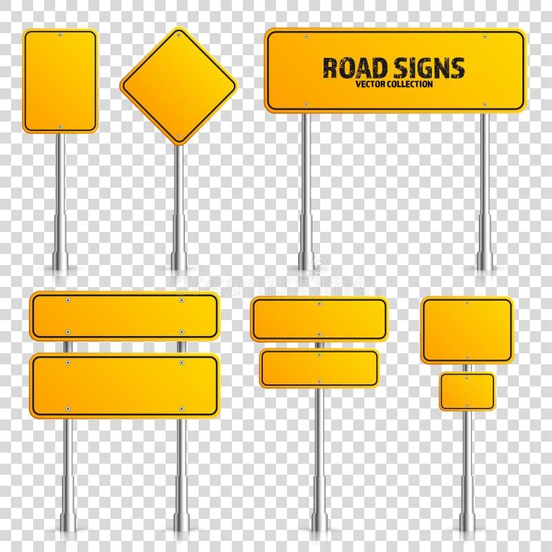 Weg gele verkeersteken Lege raad met plaats voor tekst Model Geïsoleerd op transparant achtergrondinformatieteken royalty-vrije illustratie